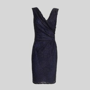 REISS Lourdes Wrapped Ruched Front Lace Dress